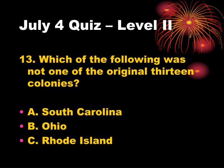 July 4 Quiz – Level II