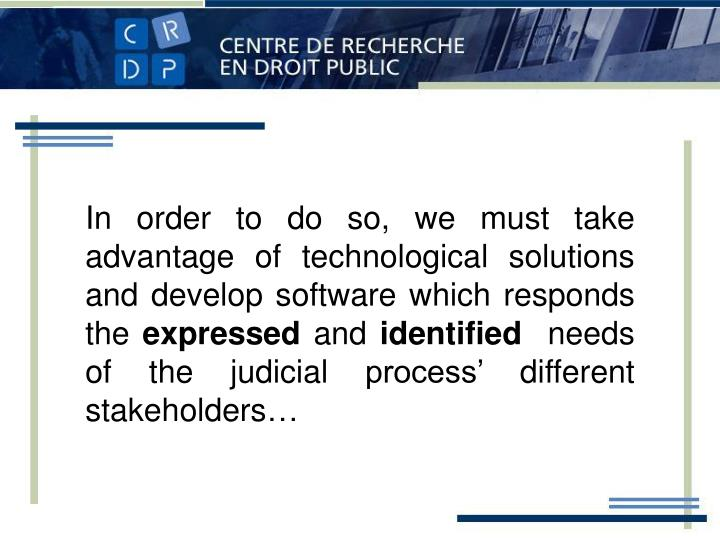 In order to do so, we must take advantage of technological solutions and develop software which responds the