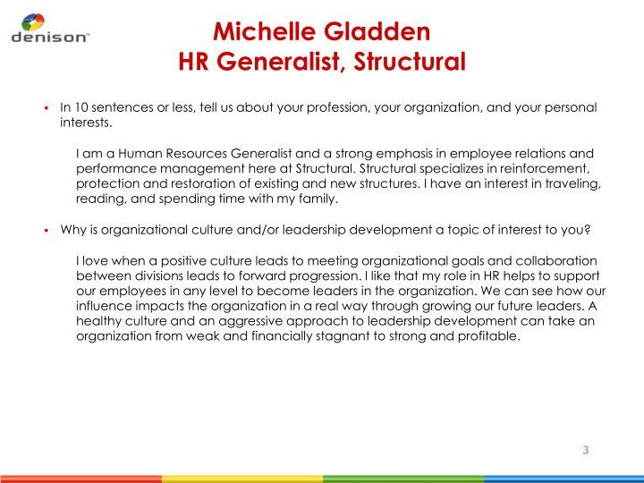Michelle gladden hr generalist structural