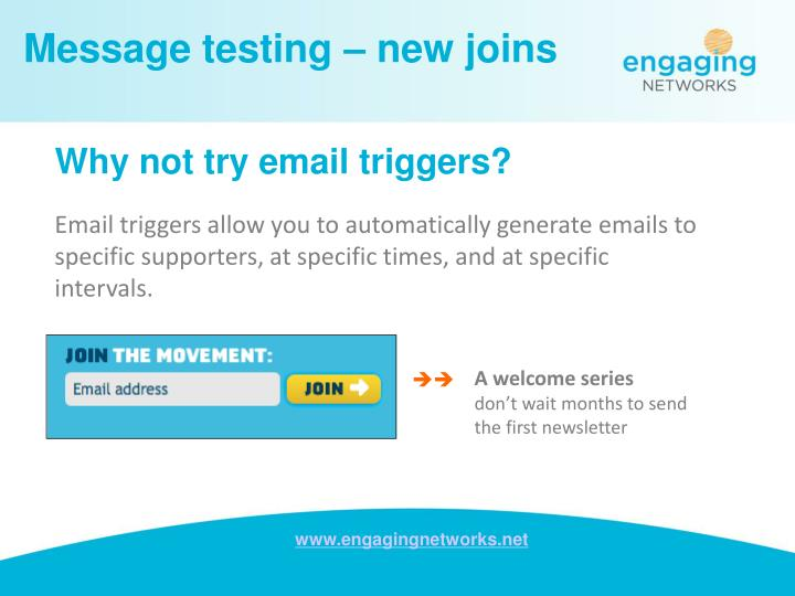 Message testing – new joins