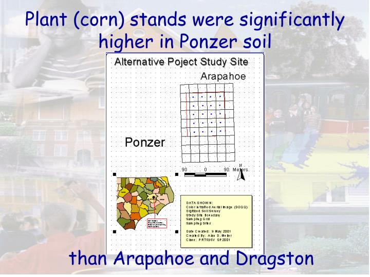 Plant (corn) stands were significantly higher in Ponzer soil