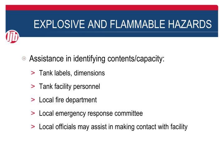 EXPLOSIVE AND FLAMMABLE HAZARDS