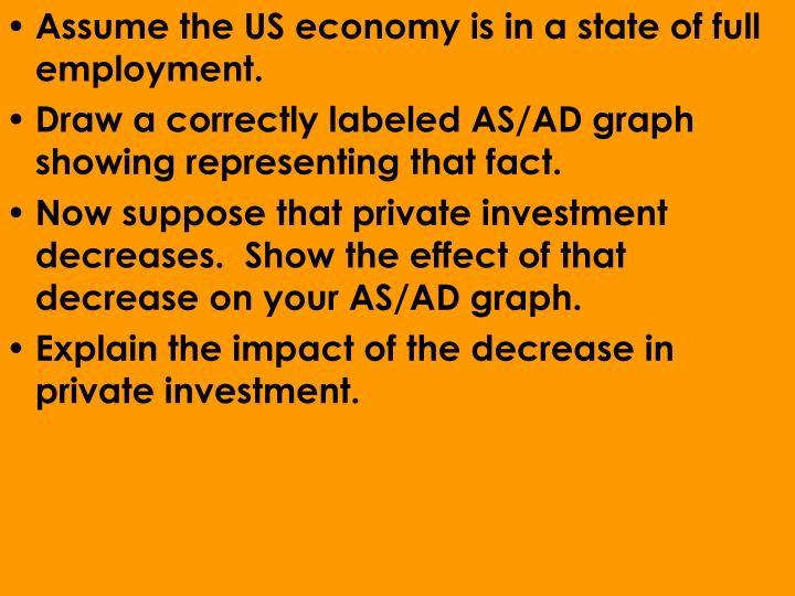 Assume the US economy is in a state of full employment.