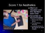 score 1 for aesthetics
