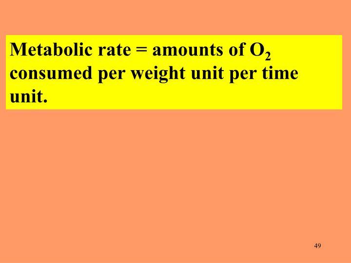 Metabolic rate = amounts of O