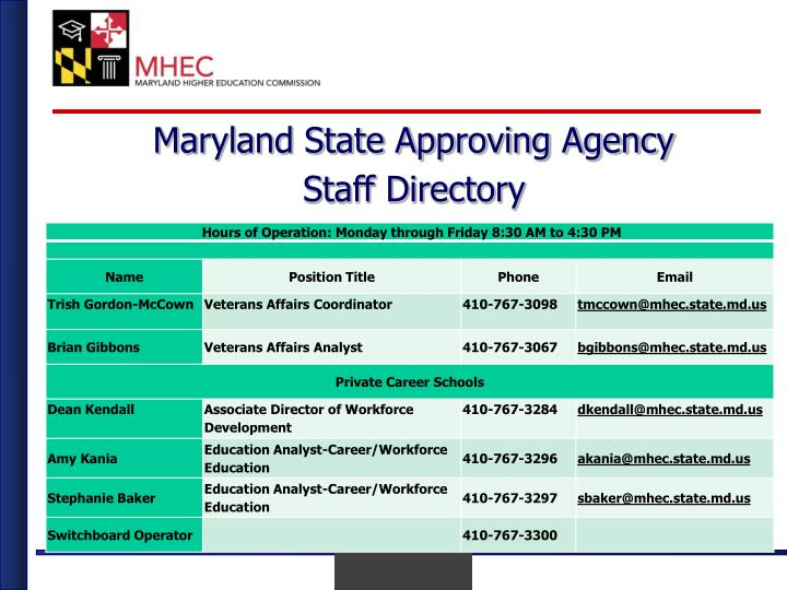 Maryland state approving agency1