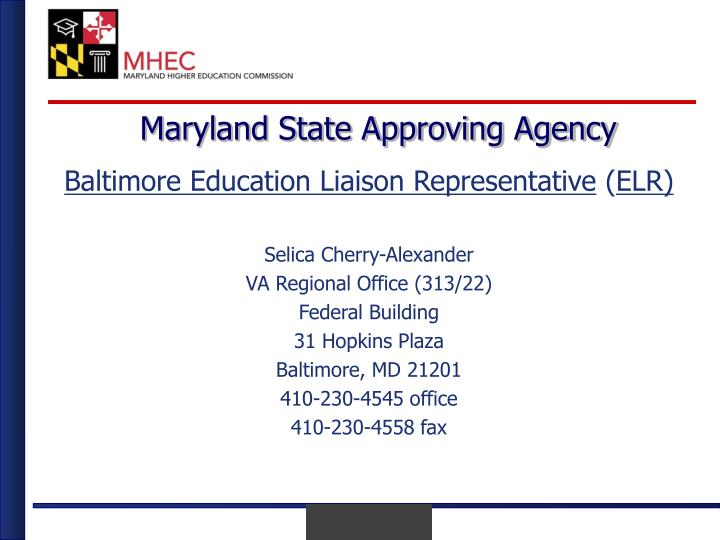 Maryland state approving agency2