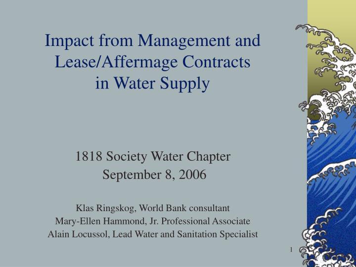 impact from management and lease affermage contracts in water supply n.