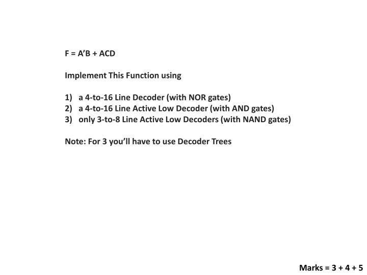 F = A'B + ACD