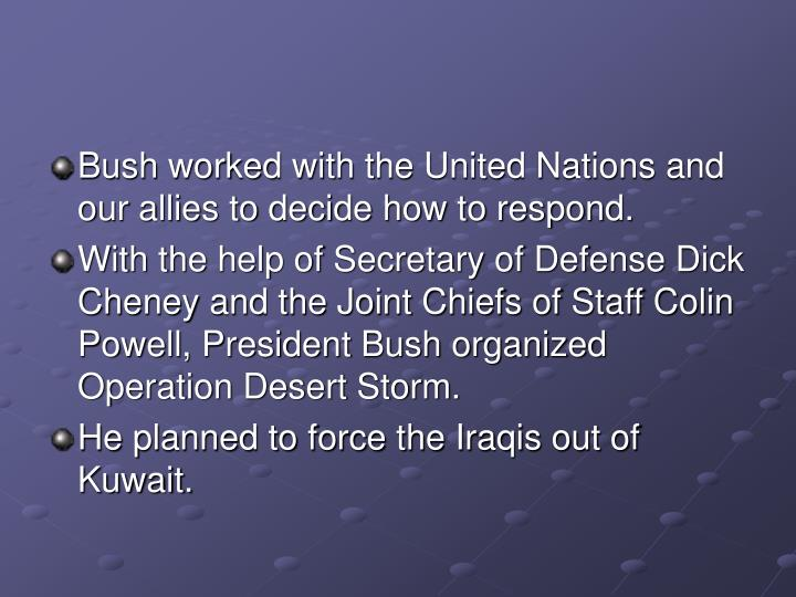 Bush worked with the United Nations and our allies to decide how to respond.