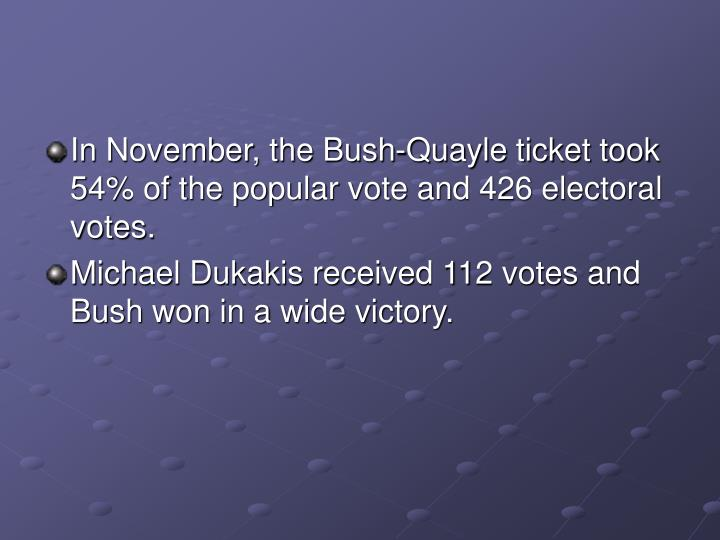 In November, the Bush-Quayle ticket took 54% of the popular vote and 426 electoral votes.