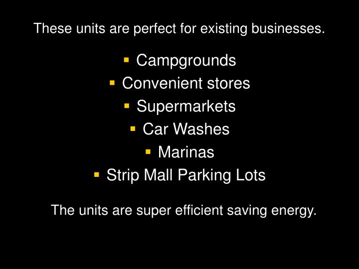 These units are perfect for existing businesses.