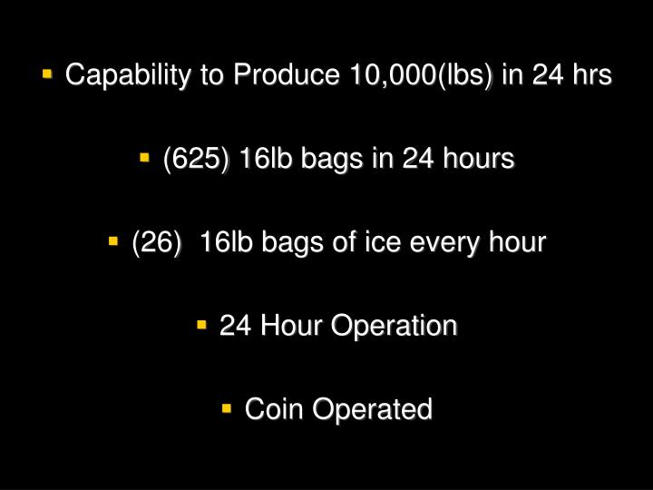 Capability to Produce 10,000(lbs) in 24 hrs
