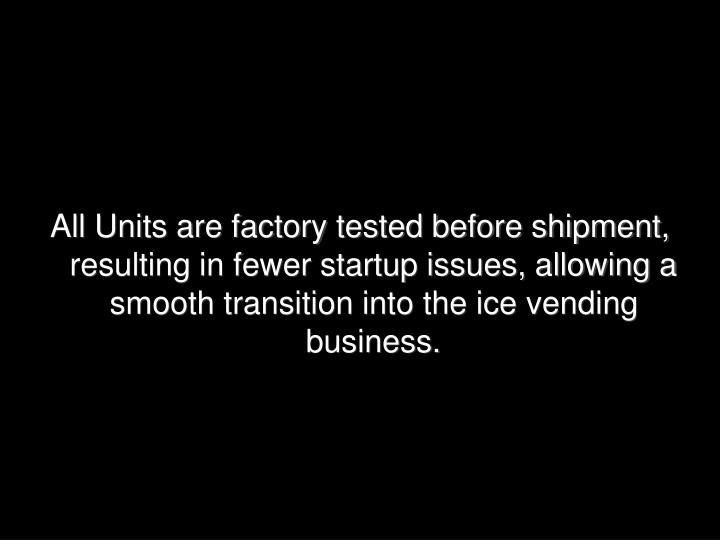 All Units are factory tested before shipment, resulting in fewer startup issues, allowing a smooth transition into the ice vending business.
