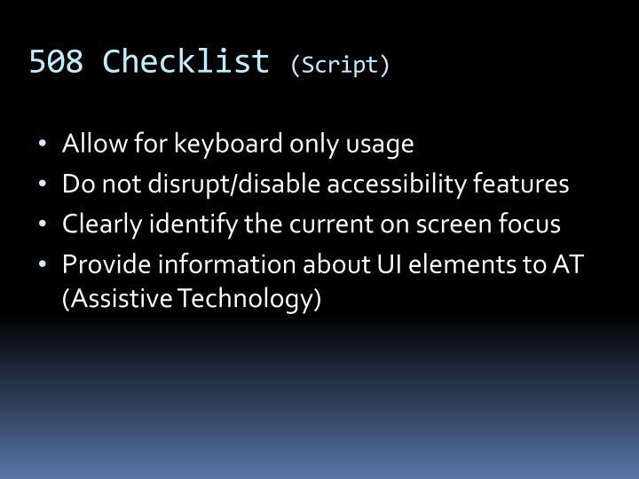 508 Checklist