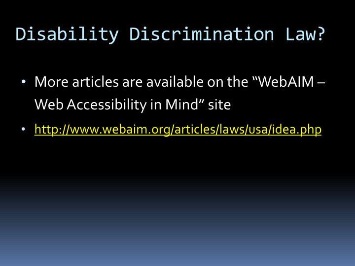 Disability Discrimination Law?
