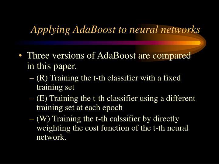 Applying AdaBoost to neural networks