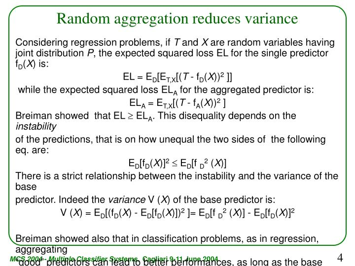 Random aggregation reduces variance