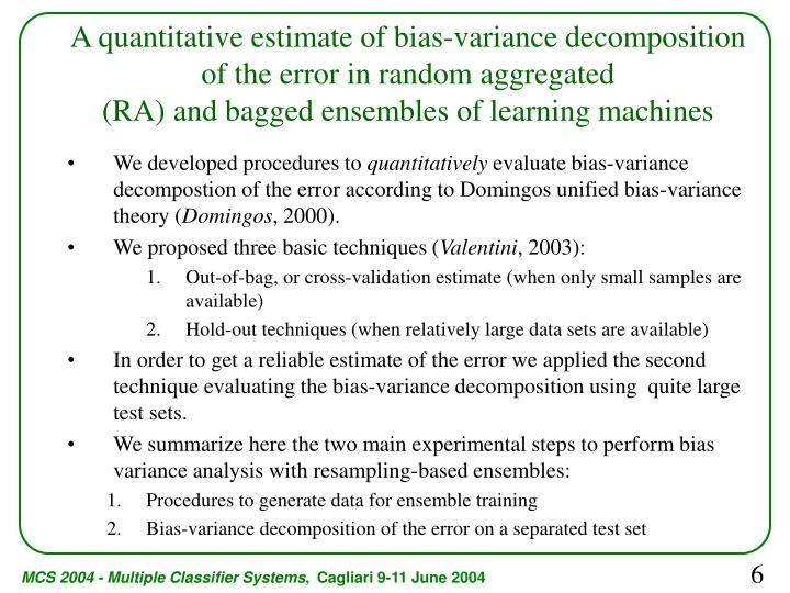 A quantitative estimate of bias-variance decomposition of the error in random aggregated