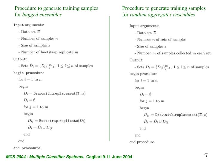 Procedure to generate training samples for