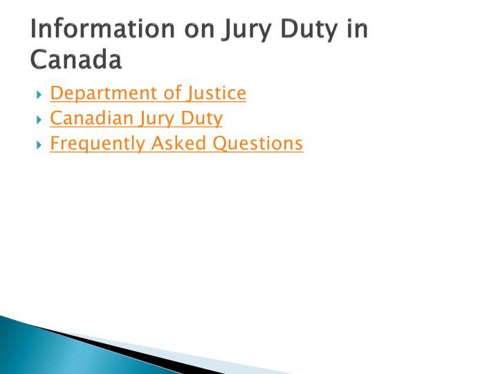 Information on Jury Duty in Canada