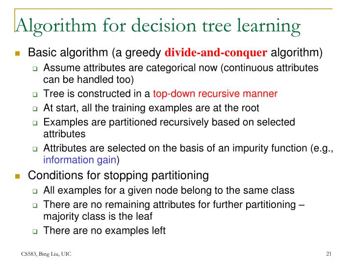 Algorithm for decision tree learning