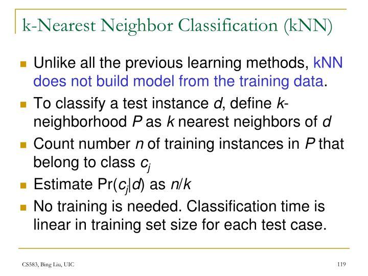 k-Nearest Neighbor Classification (kNN)