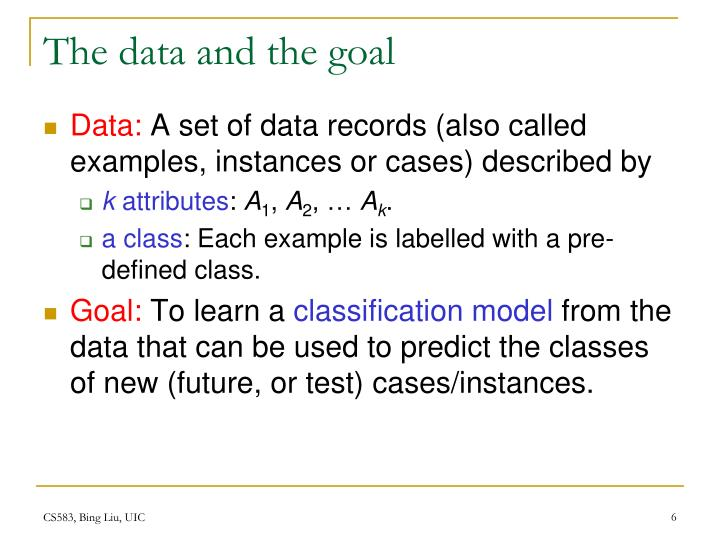 The data and the goal