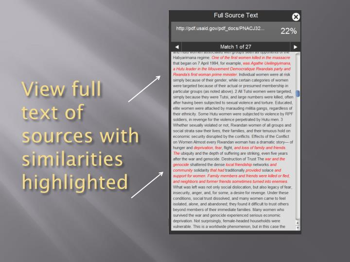 View full text of sources with similarities highlighted