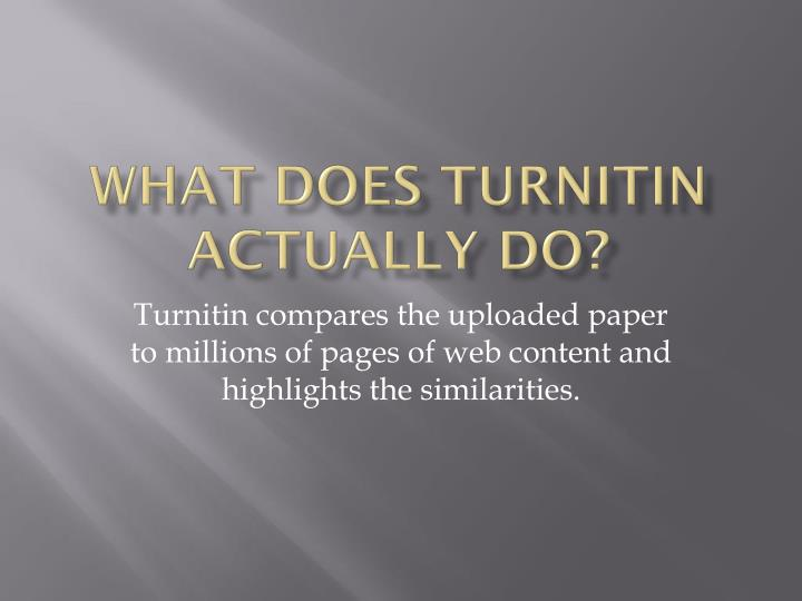 What does Turnitin actually do?