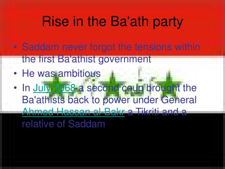 Rise in the Ba'ath party