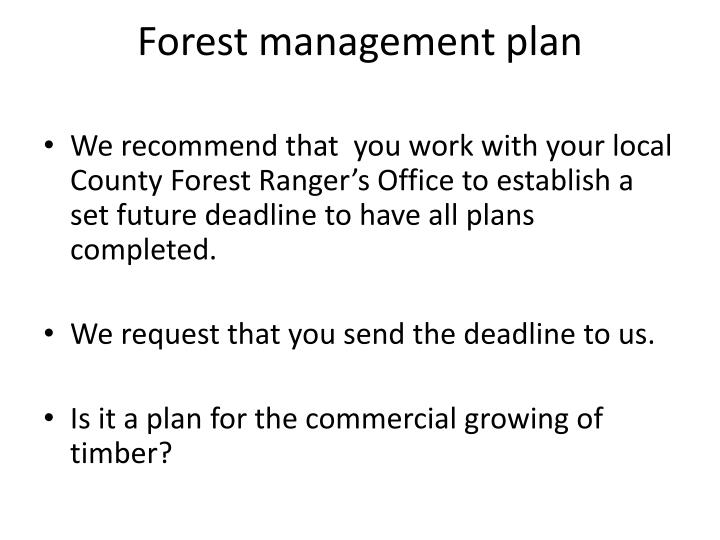 Forest management plan