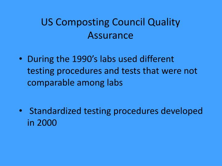 US Composting Council Quality Assurance