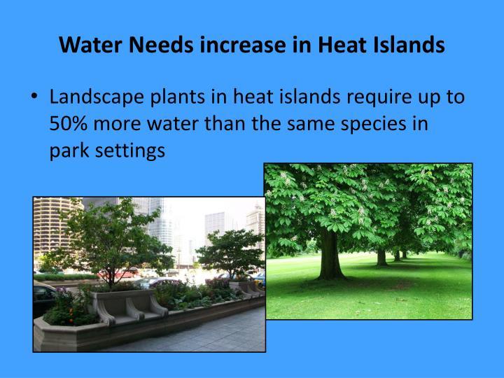Water Needs increase in Heat Islands