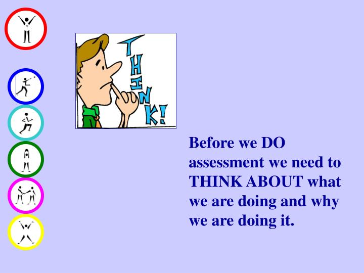 Before we DO assessment we need to THINK ABOUT what