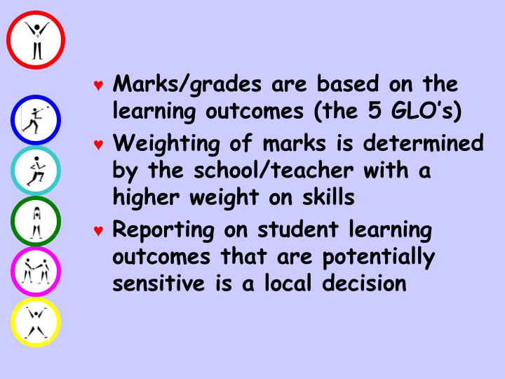 Marks/grades are based on the learning outcomes (the 5 GLO's)