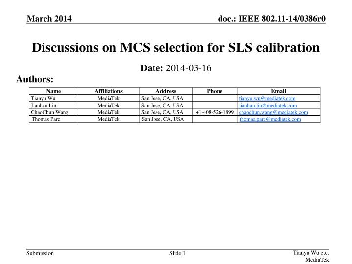 discussions on mcs selection for sls calibration n.