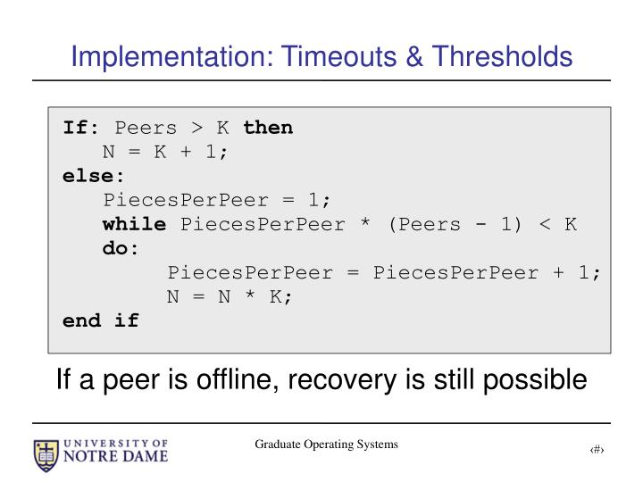 Implementation: Timeouts & Thresholds