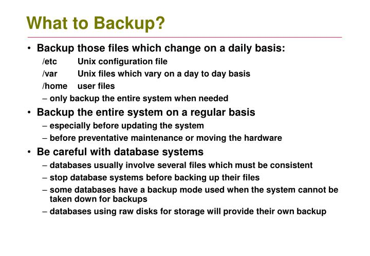 What to Backup?