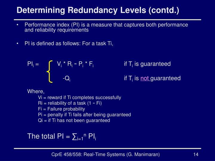 Determining Redundancy Levels (contd.)