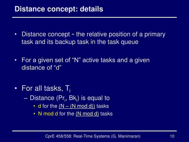 Distance concept: details