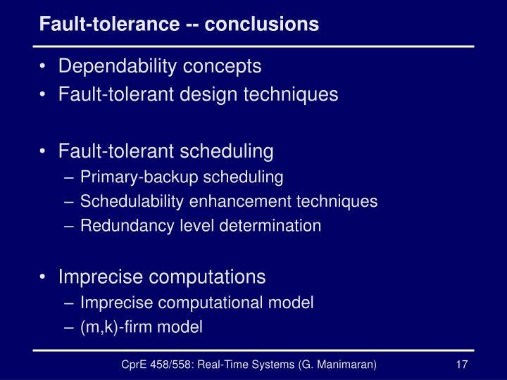 Fault-tolerance -- conclusions