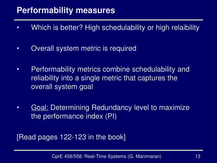 Performability measures