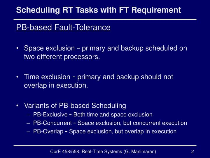 Scheduling rt tasks with ft requirement