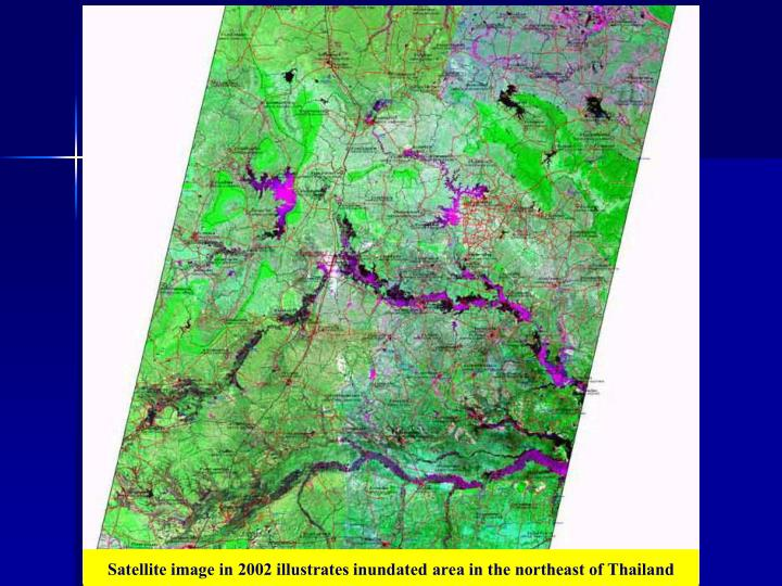 Satellite image in 2002 illustrates inundated area in the northeast of Thailand