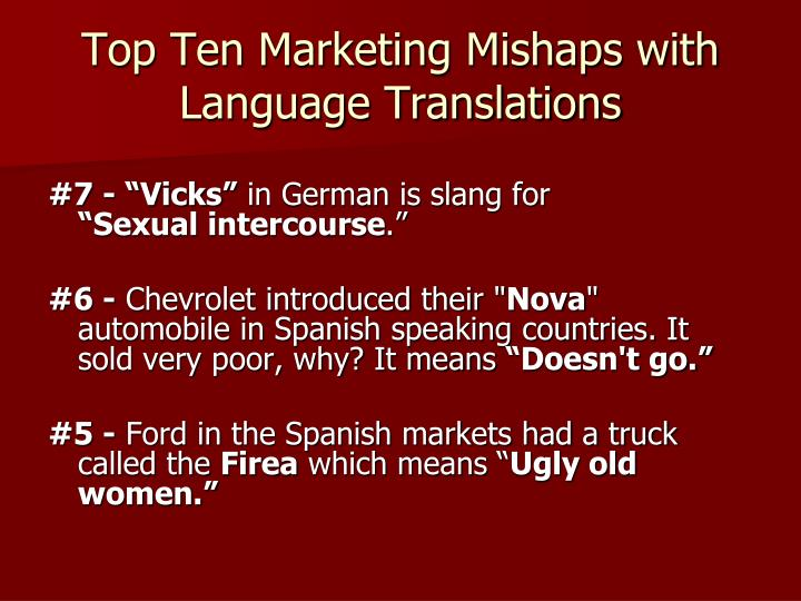 Top Ten Marketing Mishaps with Language Translations