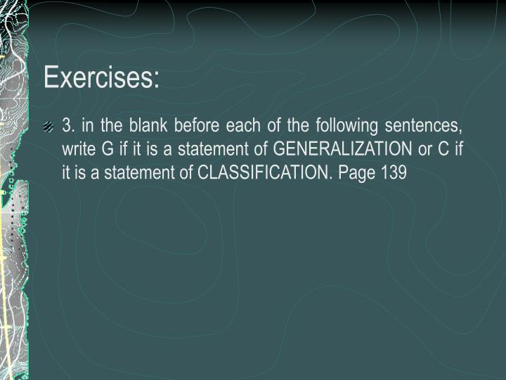 Exercises: