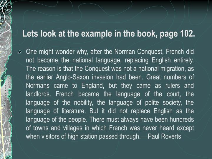 Lets look at the example in the book, page 102.