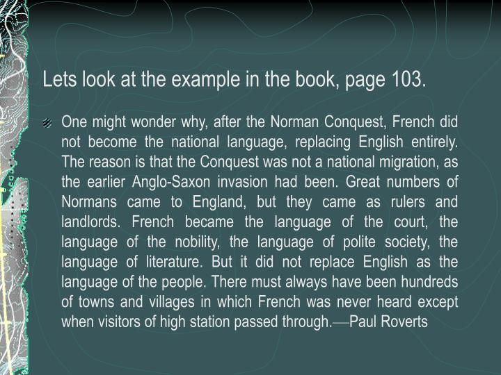 Lets look at the example in the book, page 103.