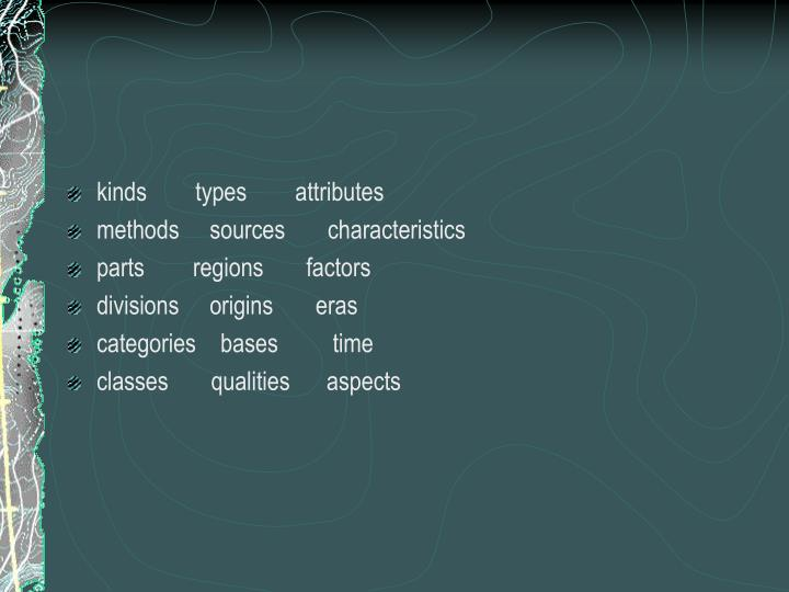 kinds        types        attributes